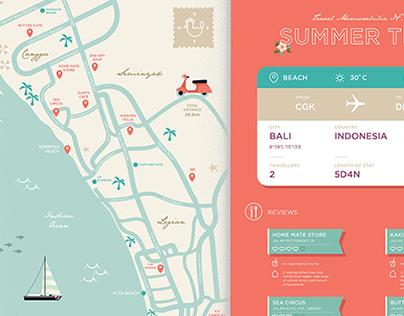 Bali Trip Map Illustration
