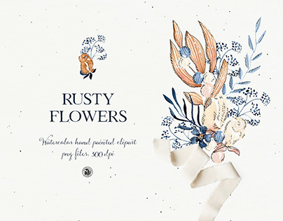 Rusty Flowers - watercolor clipart