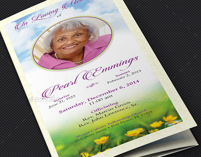 Memories Tri-fold Funeral Program Template