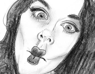 Pencil Sketch - Miss Victory Violet
