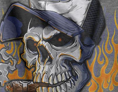 Trucker Skull Shirt Design