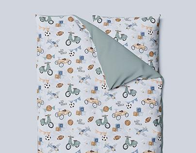 Retro Boys' World - watercolor textile nursery pattern