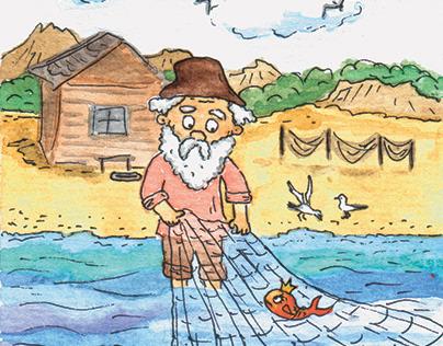 Иллюстрация к сказке о рыбаке и Золотой рыбке