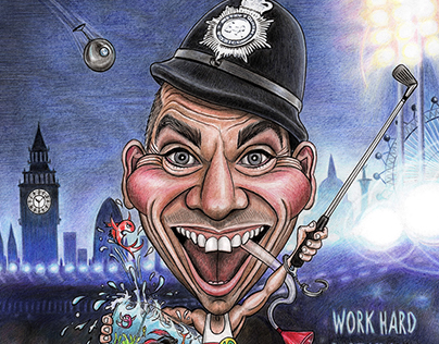 'Work Hard - Play Hard!' - Caricature
