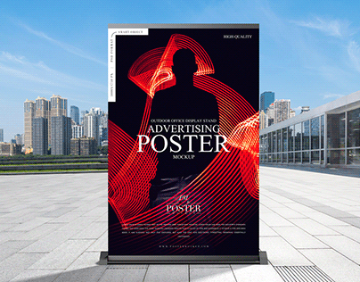 Outdoor Office Display Advertising Poster Mockup Free