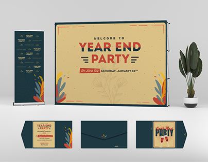 Year end Party Tet Tat nien Vietnam Retro Concept