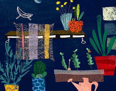 Plants on a small terrace - illustration