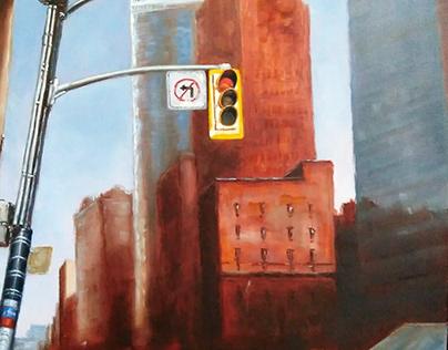 """""""Street light. Richmond"""" oil on canvas"""