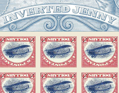 USPS Inverted Jenny Stamp Illustrated by Steven Noble