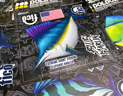 Extreme fishing brand 'FICO' sticker graphicer