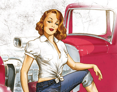 Flathead Cigars - Hotrod Girl illustration series