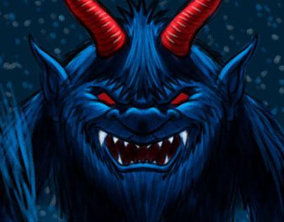 Krampus Christmas Demon Cartoon Character Sketch 4