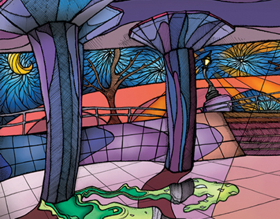 South bank by night - 'Long Live Southbank illustration