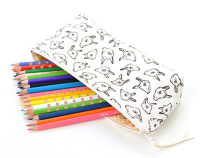 Animal Heads Pencil Pouch | Original Fabric