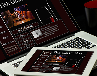 Gnarly Vine Wine Bar, Print and Web Redesign