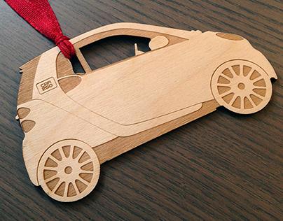 Laser Cut CAR2GO Ornaments