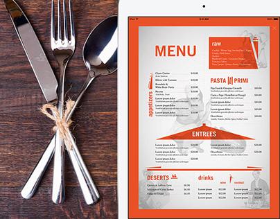 Restaurant Menu design for a new NYC restaurant