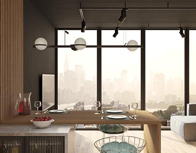 Дизайн-проект пентхауса, кухня-гостиная в стиле Лофт