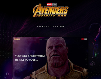 Infinity War Website - Design Concept