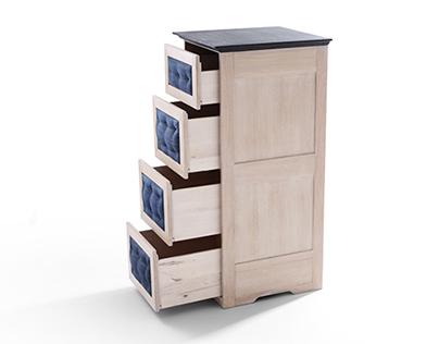 Yankee - Jeans upholstered oaken chest of drawers