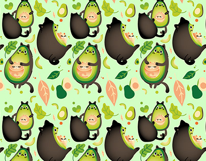 Avocados and Cats / Pattern Designs