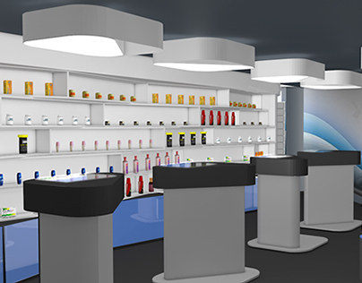 Interior design of a pharmacy