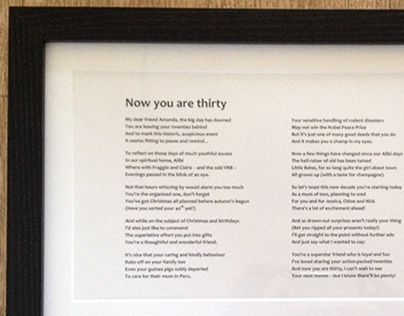 'Now you are thirty' bespoke framed poem