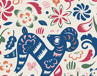 Year of the sheep Pattern Design