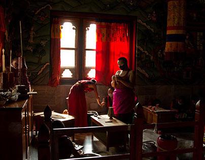 Bhutanese Monks Making Candles, Bodh Gaya, India