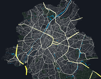 Transport flows in Brussels at peak hour