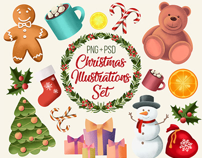 12 Christmas Illustrations Set