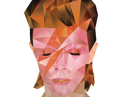 Ziggy Stardust Polygonic Portrait