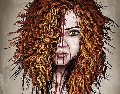 Wild Curly Redhead