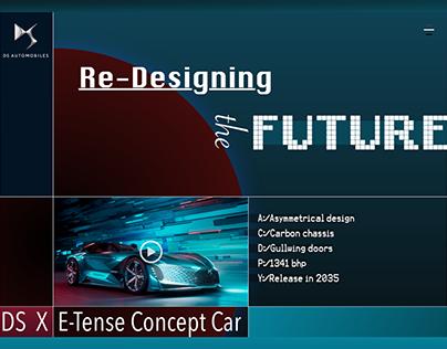 Landingpage concept design for the DS X E-Tense