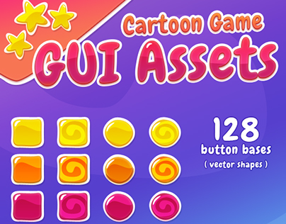 Cartoon Game GUI Assets