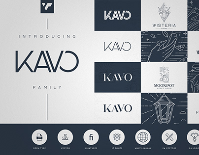 Kavo Family - 17 fonts + 24 logo templates
