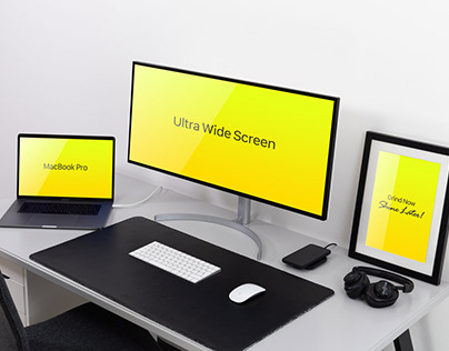 Free Widescreen Monitor, MacBook Pro & Frame Mockup PSD