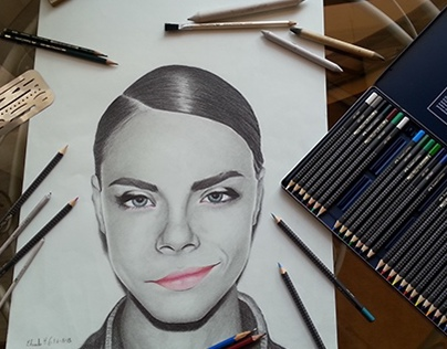 Cara Delevingne portrait and digital poster