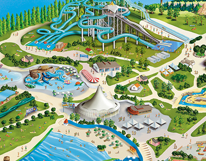 AQUAFAN-Riccione, Italy-Theme park illustration,