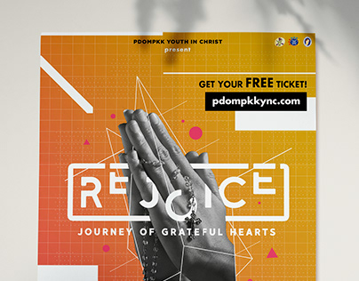 A Brochure or flyer that says 'Rejoice - Journey of grateful hearts'