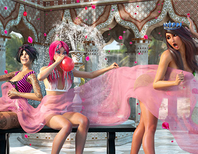 3 Ladies and a Pink Gauze