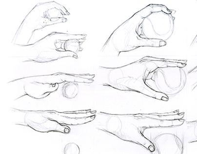 Disegni di studio: la mano e la gestualità