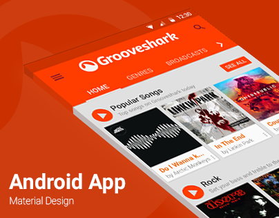 Grooveshark Android App | Material Design