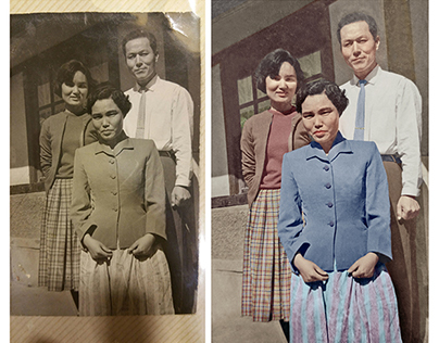 Restoration and colorisation of a photograph (c. 1940)