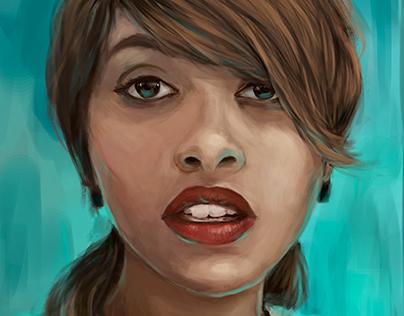 Cyan Woman Portrait