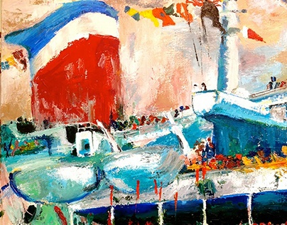SS Ship (In style of: Leroy Neiman)