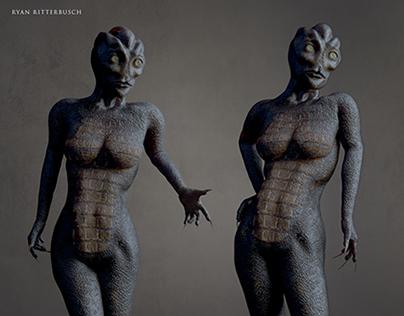 Female Reptilian 3D Character