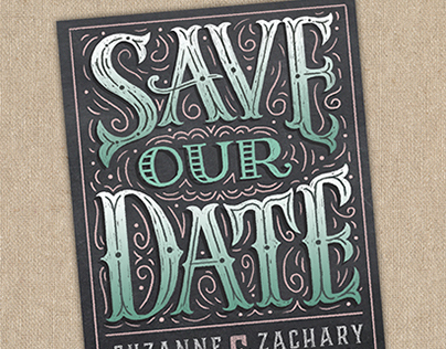 Vintage Chalk Poster Save Our Date