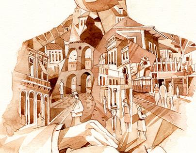 Ilustração para livro sobre o escritor Lima Barreto