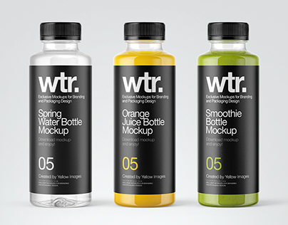 11 Juice Bottles PSD Mockups